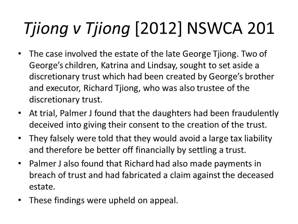 Tjiong v Tjiong [2012] NSWCA 201